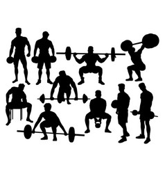 Weightlifting action silhouettes vector