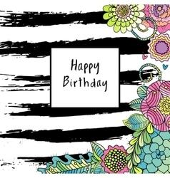 Floral birthday card vector