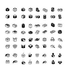 Box icons set 64 item vector