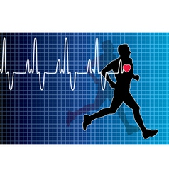 Electrocardiogram and running man vector