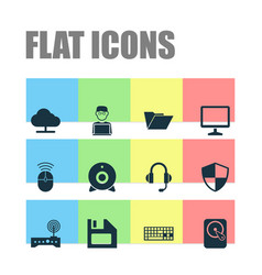 Computer icons set collection of defense hdd vector