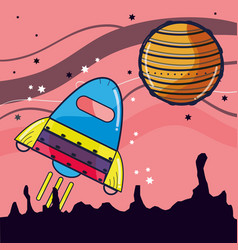 Rocket visiting to jupiter planet in the space vector