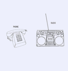 Sey of retro phone and radio sketch line art vector