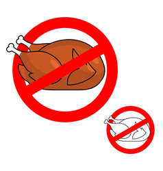 Ban roasted chicken prohibited fried food red vector