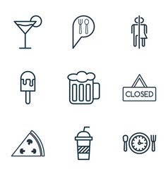 Set of 9 restaurant icons includes ale pepperoni vector