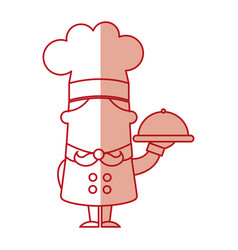 Funny chef with tray avatar character vector