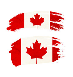 grunge brush stroke with canada national flag on vector image
