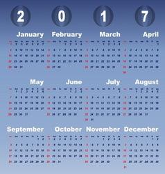 2017 calendar on blue gradient background vector