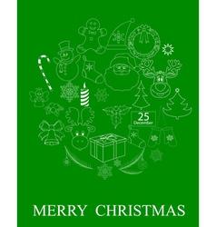 green Christmas symbols vector image