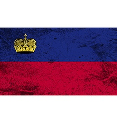 Flag of liechtenstein with old texture vector