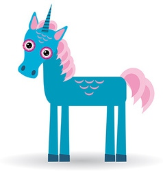 Funny blue unicorn pink mane on a white background vector