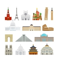 Monuments flat icons vector