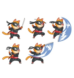 Cat ninja attacking sprite vector