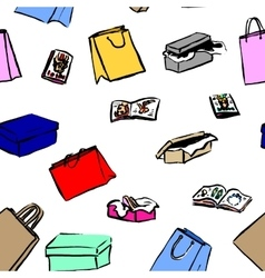 Seamless background with gift boxes and shopping vector