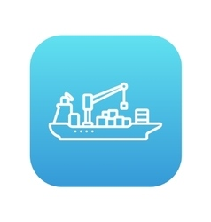 Cargo container ship line icon vector