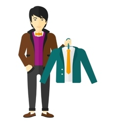 Man holding jacket vector