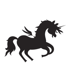 Unicorn silhouette on white background vector
