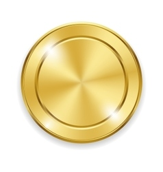 Blank round polished gold metal badge on white vector