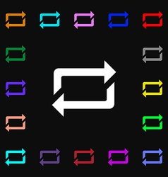 Repeat icon sign lots of colorful symbols for your vector