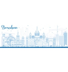 Outline barcelona skyline with blue buildings vector