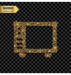 Gold glitter icon of microwave isolated on vector