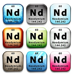 An icon showing the chemical Neodymium vector image vector image