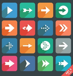 Arrow sign flat icon set vector