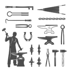 Blacksmith black white icons set vector