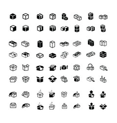 box icons set 64 item vector image vector image