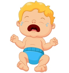 Cartoon little baby crying vector image vector image