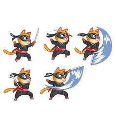 Cat Ninja Attacking Sprite vector image