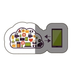 Color sticker with cloud service with apps set and vector