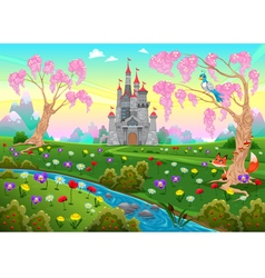 Fairytale scenery with castle vector image vector image