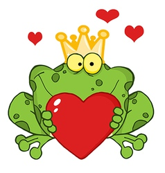 Frog Prince Holding A Heart vector image vector image