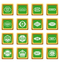 golden labels icons set green vector image