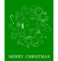 green Christmas symbols vector image