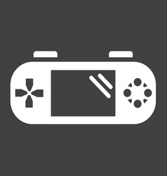 Handheld game console solid icon controller vector