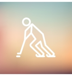 Hockey player pushing the puck thin line icon vector image vector image