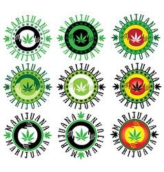 marijuana cannabis hemp leaf symbol stamps vector image vector image