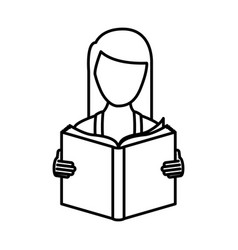 Monochrome contour with woman reading a book vector