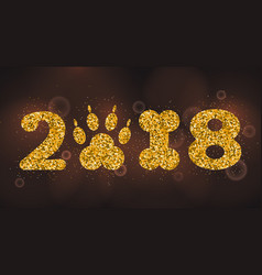 New year 2018 with symbol dog foot print and bone vector