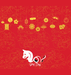 Oriental happy chinese new year 2018 year of vector