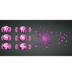 Purple grape candy with splash animation vector