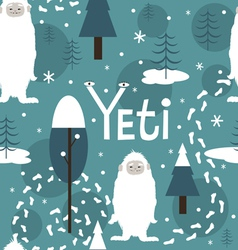 Seamless print with cute yeti vector image