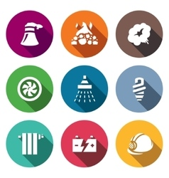 Set of thermal power plant icons vector