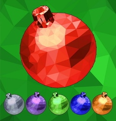 Set of triangle low polygonal Christmas balls vector image vector image