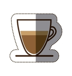 Silhouette color sticker with coffee cup close up vector