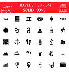 travel solid icon set travel symbols collection vector image vector image