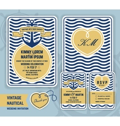 Vintage nautical anchor wedding invitation vector