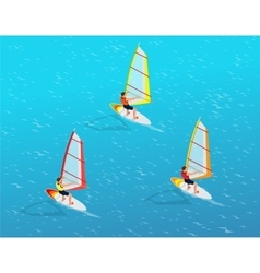 Windsurfer on a board for windsurfing creative vector